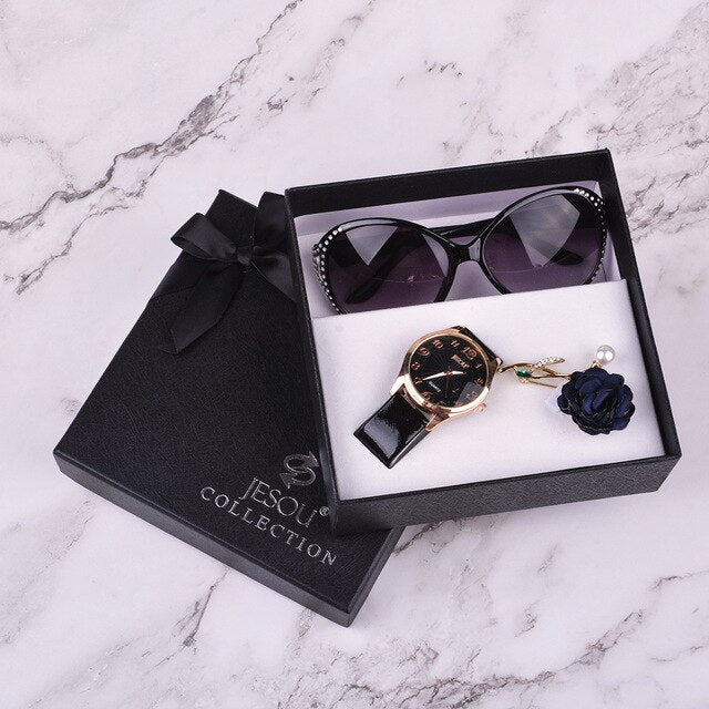 Sunglasses watch brooch 3 pcs ladies gift box Girl christmas gift new year gift Fashion Clock Women Watches leather Quartz Wrist