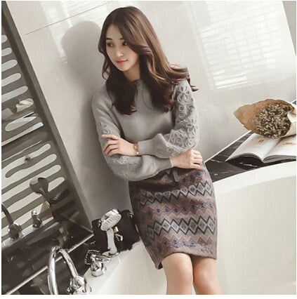 SMTHMA Women winter Korean embroidery knitting sweater +two piece Tweed wool 2 piece Geometric print Skirt set
