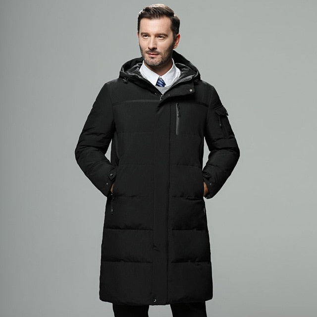 2018 New Fashion Autumn Winter Outwear Down Jacket Men Windproof Waterproof Duck Down Parka Male X-Long Thick Warm Coat M-5XL