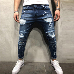Men's Painted Skinny Slim Fit Straight Ripped Distressed Pleated Knee Patch Denim Pants Stretch Jeans