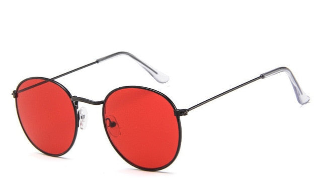 DJXFZLO Retro oval sunglasses Women/Men  brand designer vintage small black Red Yellow  shades sun glasses Oculos De Sol