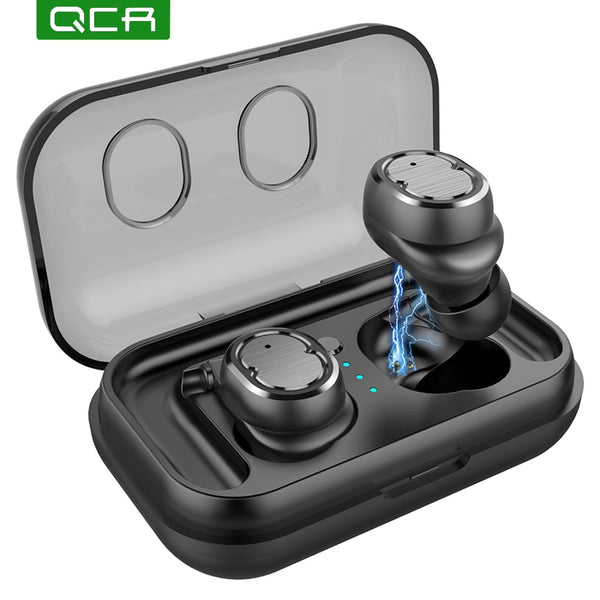 QCR T8 Wireless Earphone TWS Sport Bluetooth V5.0 Headset Touch Control True Earbuds Bass 6D Stereo Head-free IPX5 Waterproof