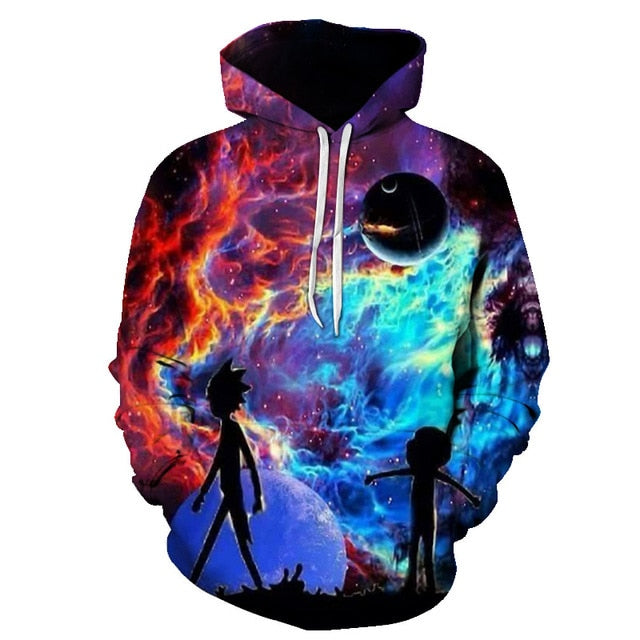 BIAOLUN 2019 Rick and Morty Jumper Fashion 3D Hoodies Creative Harajuku Galaxy Printing Casual Hoody Funny Sweatshirt Size S-6XL