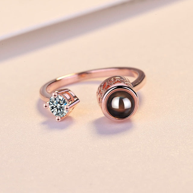 Rose Gold & Silver I Love You Projection Ring