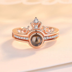 Rose Gold & Silver I Love You Princess Projection Ring