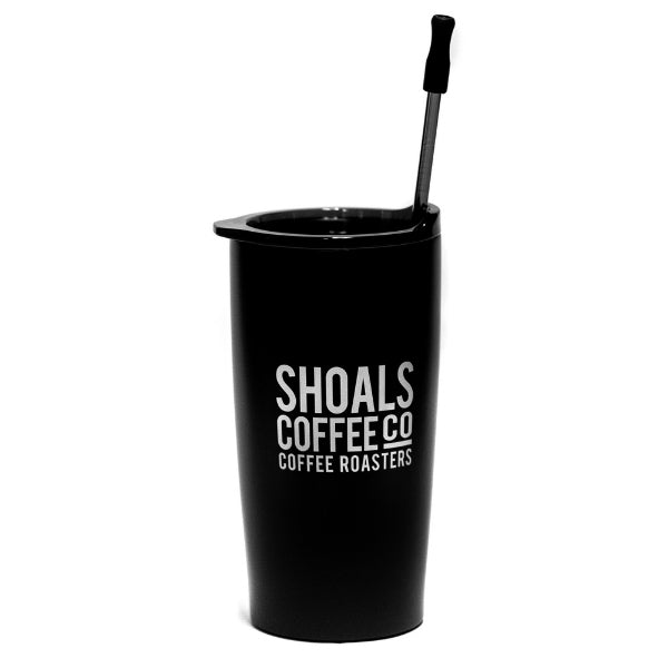 Double Wall Stainless Steel Tumbler w/ Silicone Tipped Stainless Steel Straw