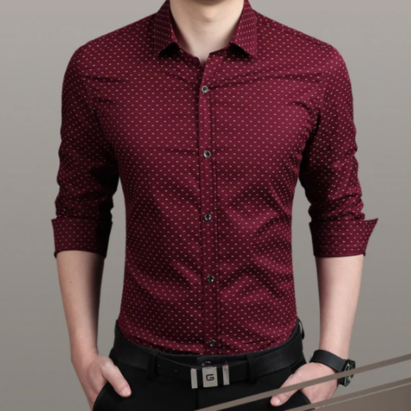 Polka Dot Men's Slim Shirt