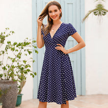 Load image into Gallery viewer, Polka Dot V-neck Lace Dress