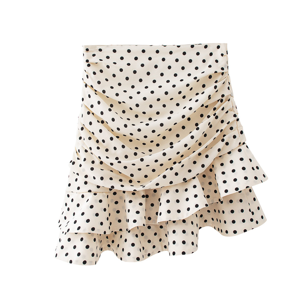 White Polka Dot Short Skirt