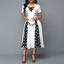 Load image into Gallery viewer, Retro Short Sleeve Polka Dot Dress