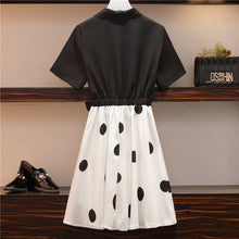 Load image into Gallery viewer, Black & White Plus Size Polka Dot Dress