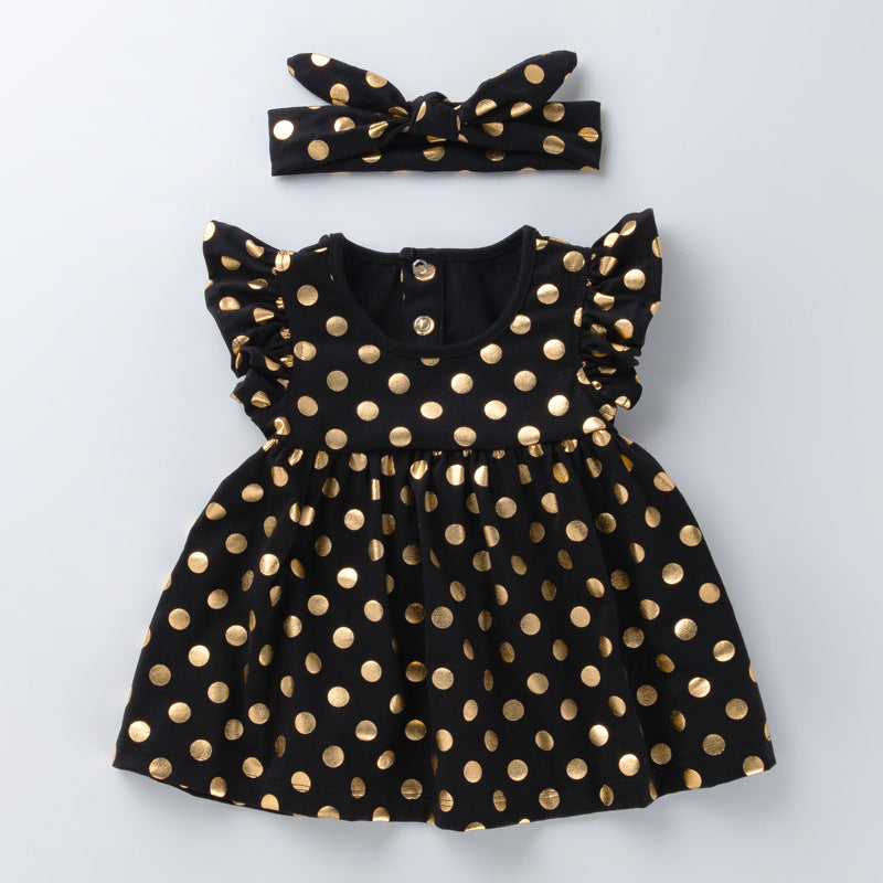 Golden Polka Dot Girl Dress