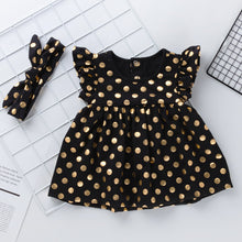 Load image into Gallery viewer, Golden Polka Dot Girl Dress