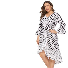 Load image into Gallery viewer, Plus Size Lace Ruffled Polka Dot Dress