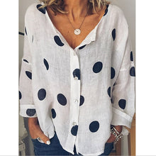 Load image into Gallery viewer, Polka Dot Long Sleeve Loose Fit Shirt