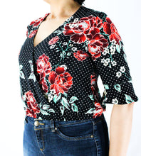 Load image into Gallery viewer, Floral Loose Wrap Blouse