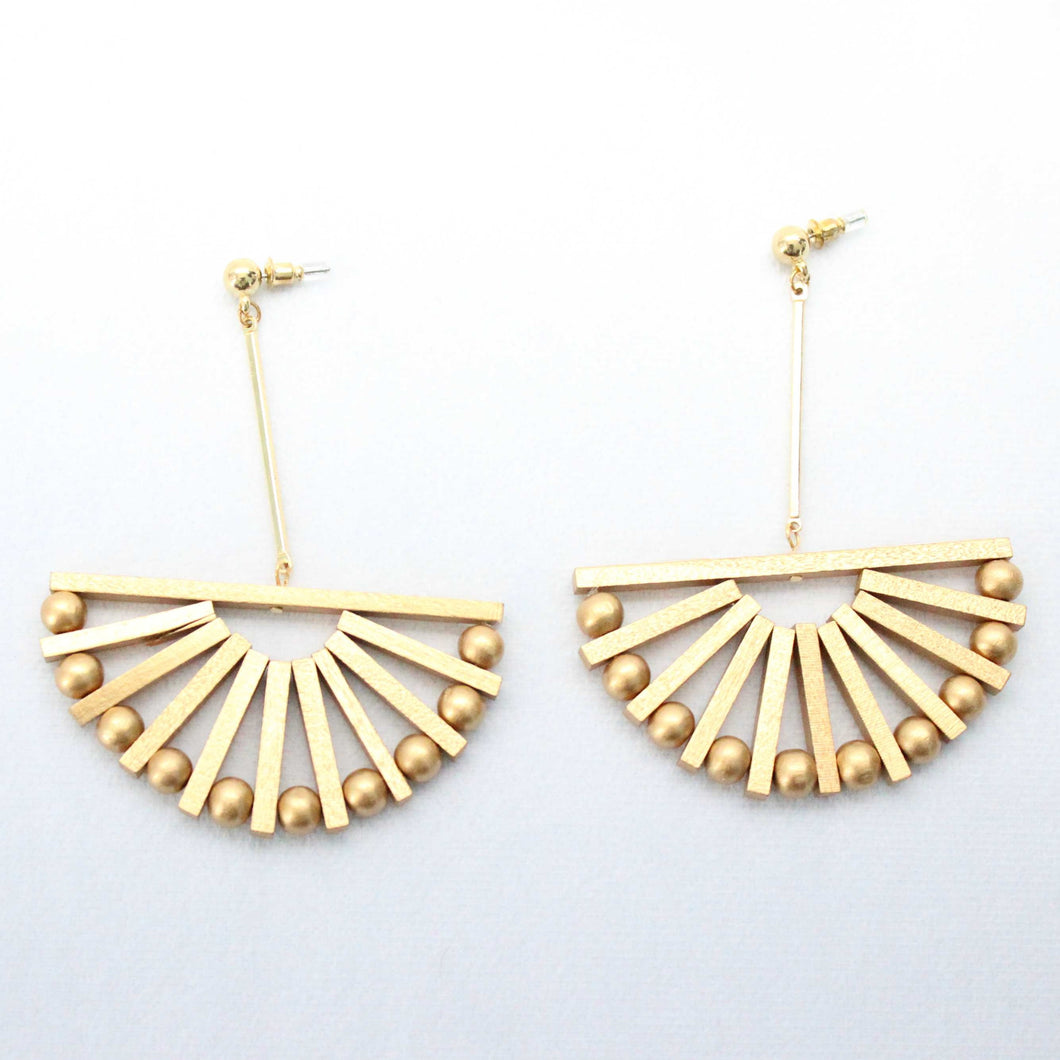 Golden Fan-shaped Earrings