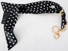 Load image into Gallery viewer, Polka dot Silk Scarf Keychain