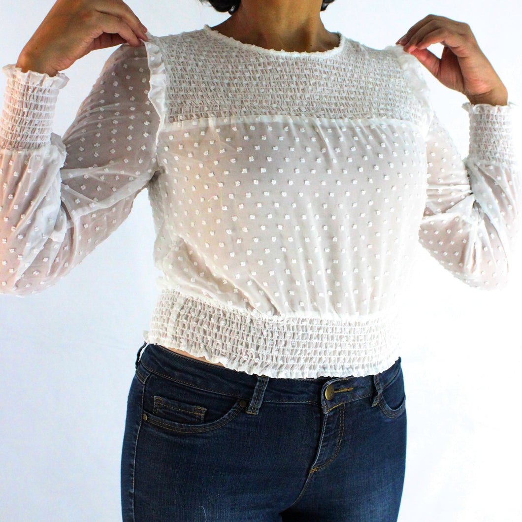 Smocked Waist Blouse - Long Sleeve