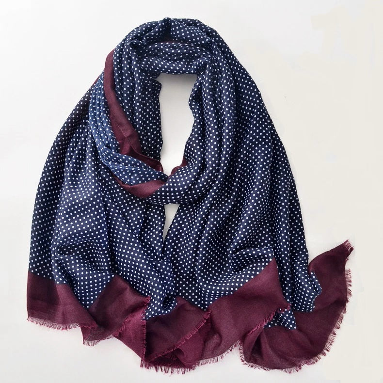 Men Polka Dot Scarf - Navy