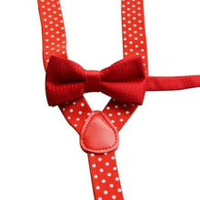 Load image into Gallery viewer, Kids Polka Dot Suspender and Bow Tie Set