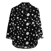 Load image into Gallery viewer, Men's Long Sleeve Shirt - Black White Polka Dot