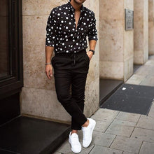 Load image into Gallery viewer, men's black polka dot shirt