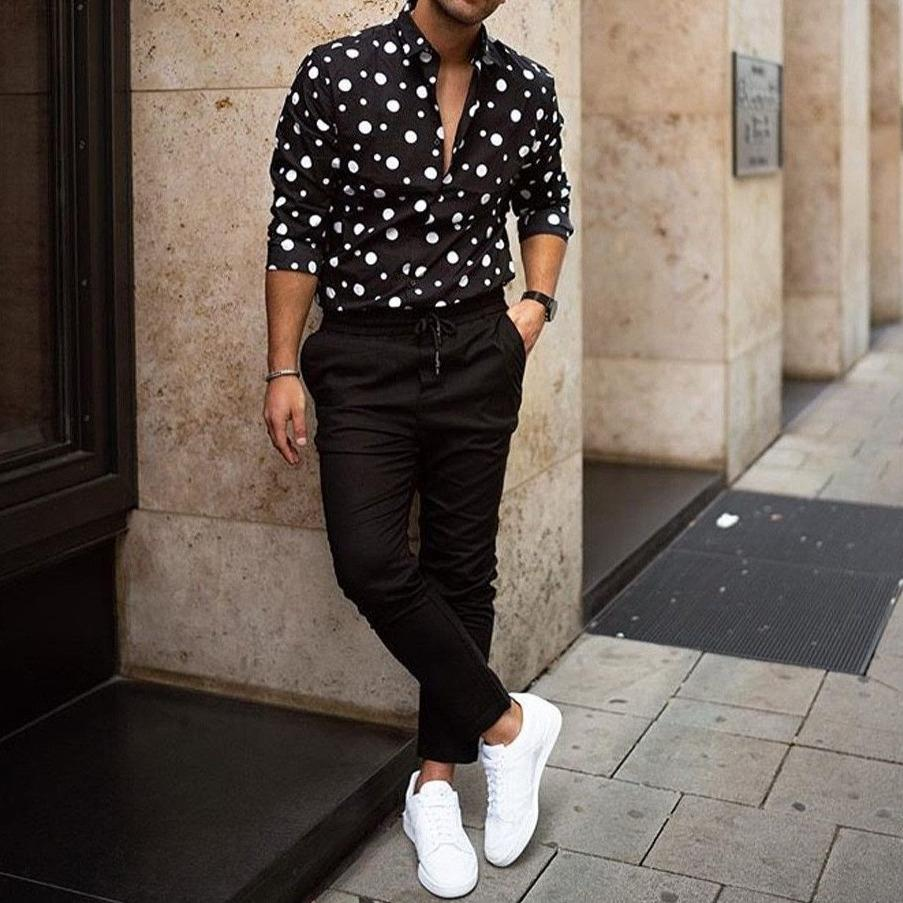 Men's Long Sleeve Shirt - Black White Polka Dot