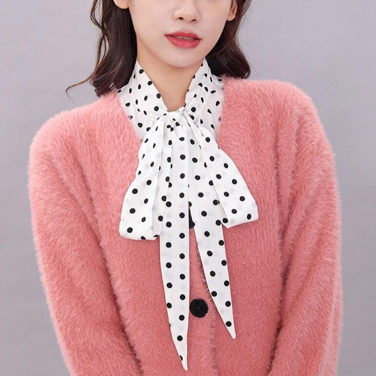 Adjustable Polka Dot Fake Collar