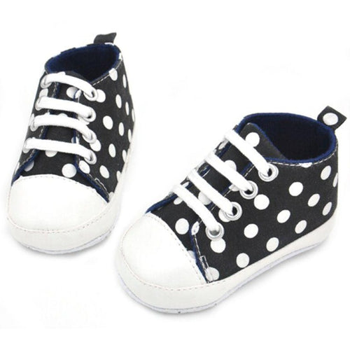 black baby boy polka dot shoes