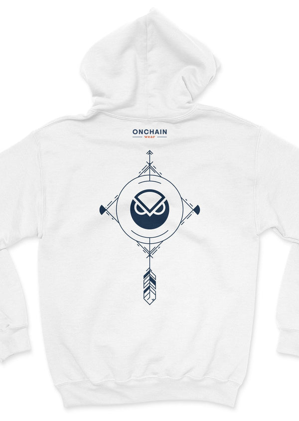 Gnosis Charm - back unisex hoodie White | gifts for blockchain and crypto fans