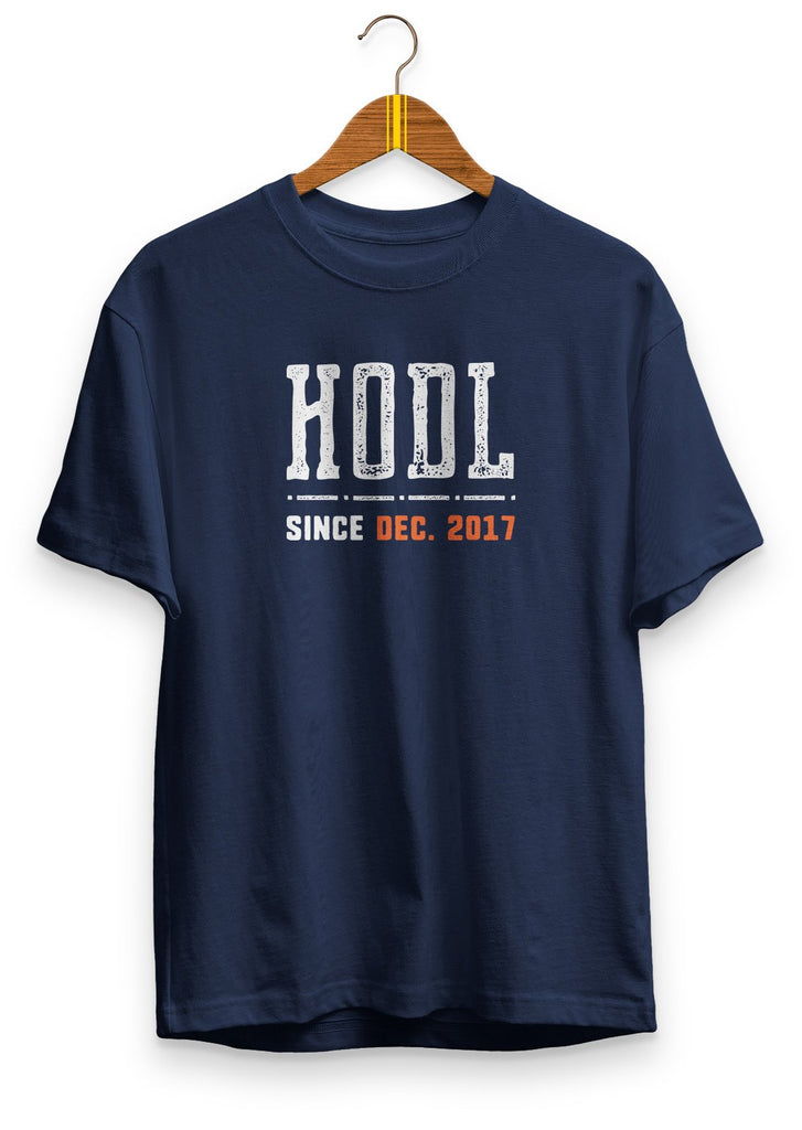 HODL since 2017 - premium unisex t-shirt Navy | gifts for blockchain and crypto fans