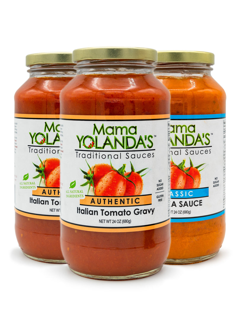 Two jars of Mama Yolanda's Authentic Tomato Gravy and One Jar of Classic Vodka Sauce