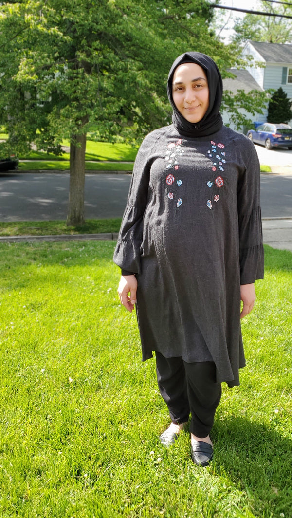 Charcoal Grey Embroidered Tunic