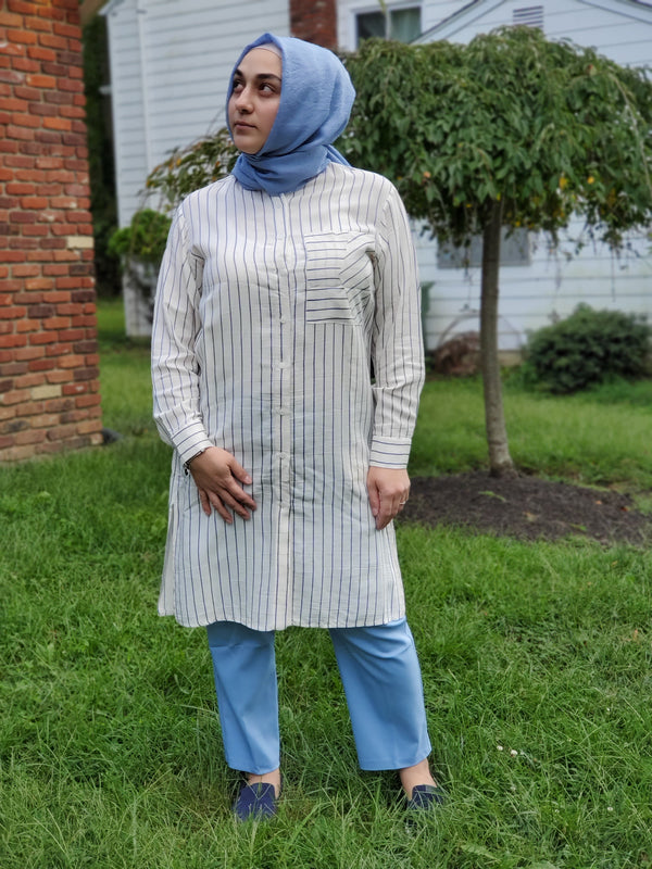 Beige Tunic with Blue Stripes