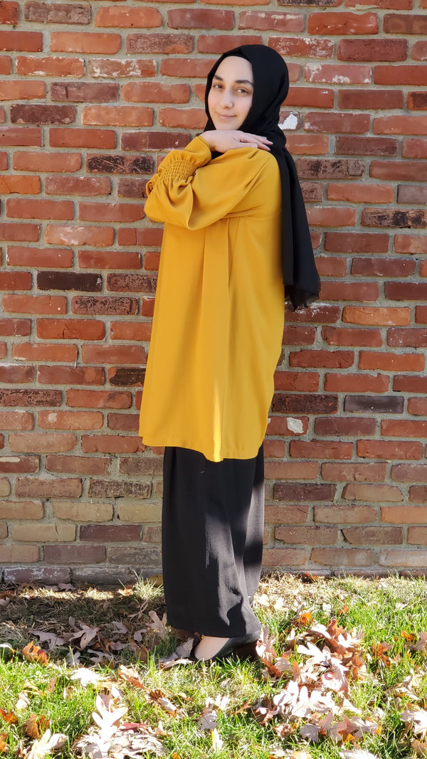 Yellow Scrunched Sleeve Tunic