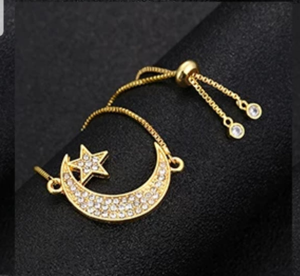 Moon and Star Draw String Bracelet