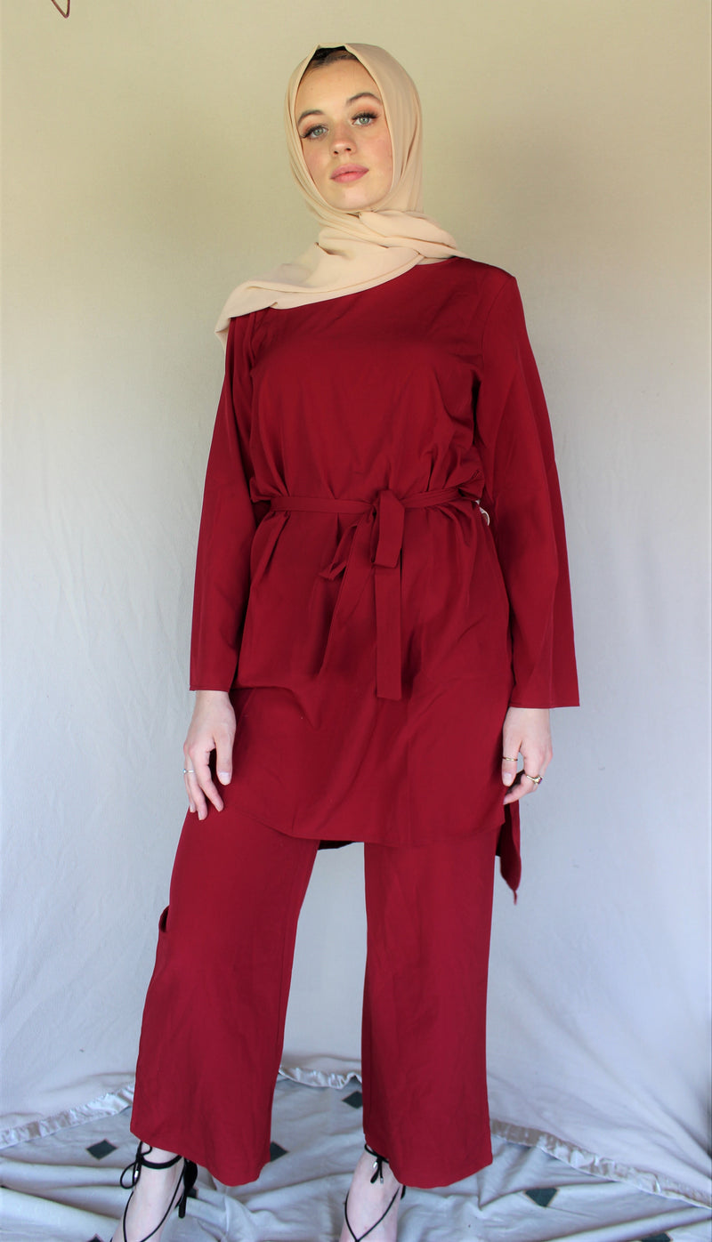 Cherry Red Top and Pants Set