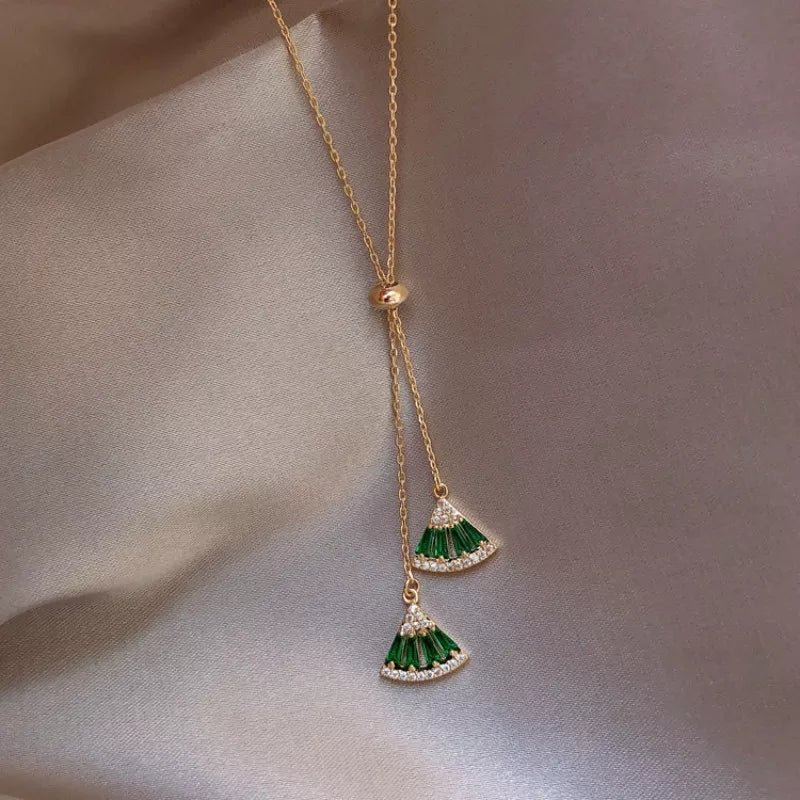 Emerald Gem Drawstring Necklace