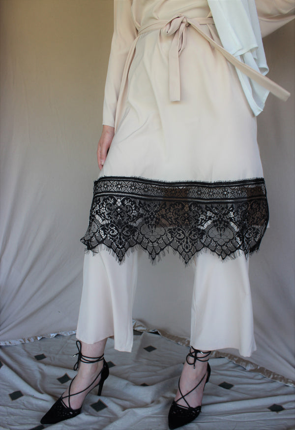Beige Lace Top and Pants Set
