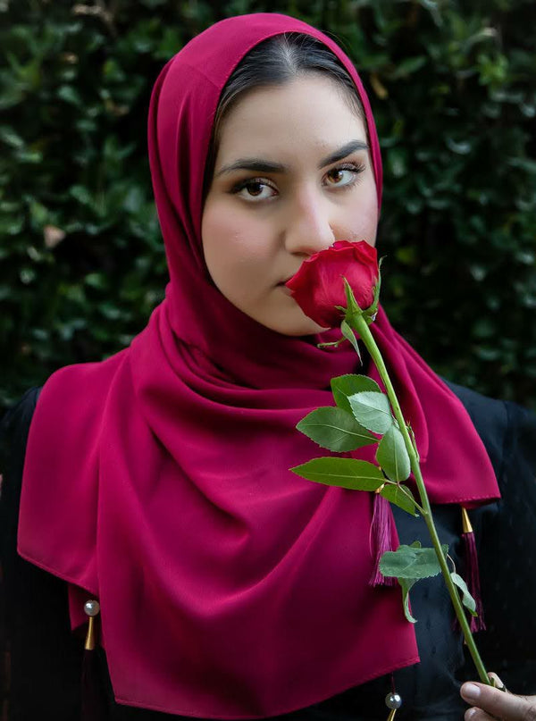 Red Rose Tassle Georgette Hijab