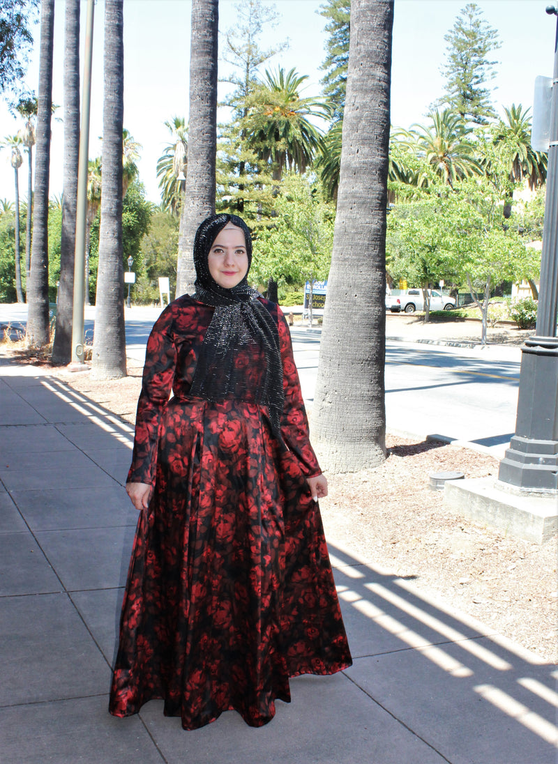 Red Rose Modest Gown