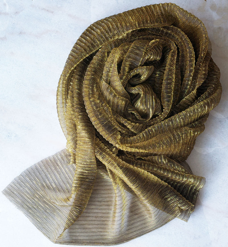 Ritz Gold Shimmer Pleated Hijab