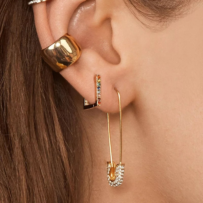 Edgy Gold Safety Pin Earring