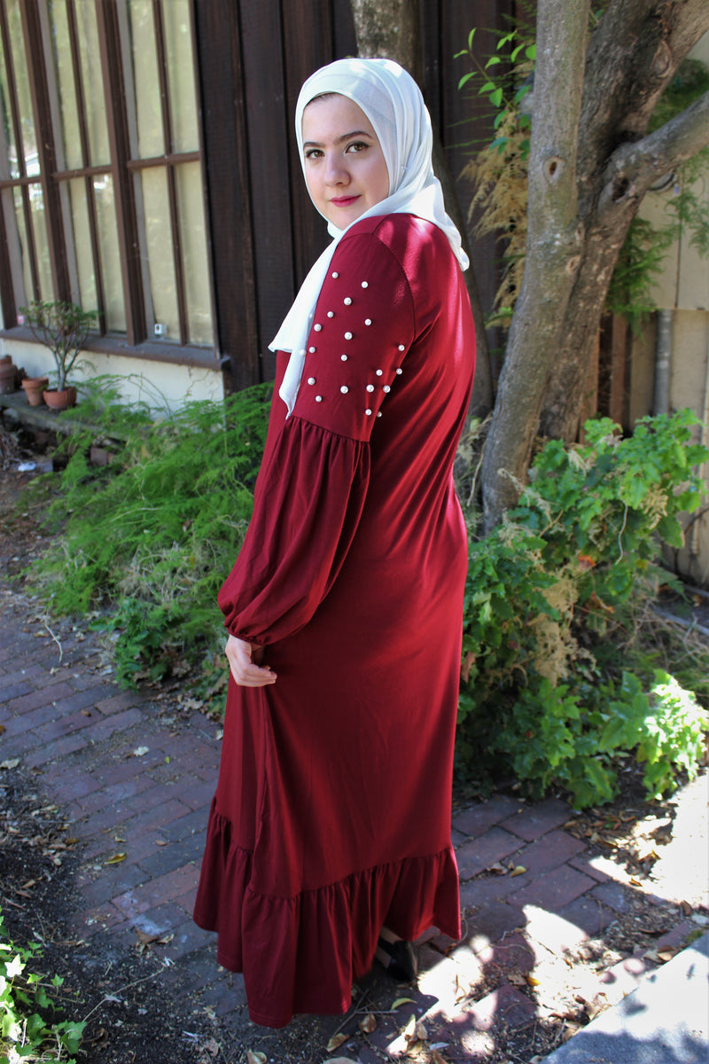 Deep Red Pearl Sleeve Dress
