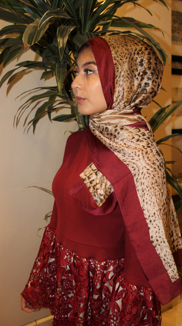 Wild Animal Print Silk Hijab