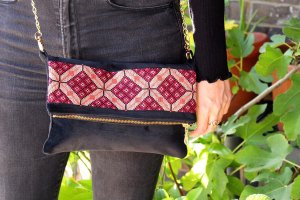 Velvet Tatreez Crossbody in Berry