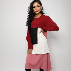 Ruby Red Color Block Tunic