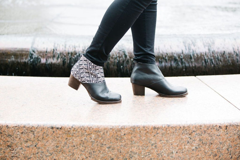 Ankle Boot in Black and Ecru