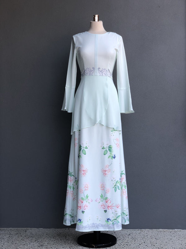 Fadya Peplum Dress in Pastel Green